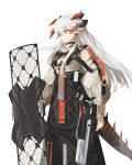 1girl arknights bangs black_skirt chest_strap closed_mouth commentary dragon_horns dragon_tail ear_clip feet_out_of_frame frown grey_shirt high-waist_skirt highres holding holding_shield holding_weapon horns id_card long_hair long_sleeves orange_eyes saria_(arknights) shield shirt silver_hair simple_background skirt solo syringe_gun tail weapon white_background xiangcm3