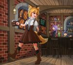 3girls adapted_costume ahoge alcohol animal_ear_fluff animal_ears asymmetrical_hair bangs bar barmaid barrel beer beer_bottle black_jacket black_legwear blazer blonde_hair boots bottle brick_wall brown_footwear brown_skirt brown_vest capelet chair collared_shirt commentary_request cookie_(touhou) cross-laced_footwear eyebrows_visible_through_hair fox_ears fox_girl fox_tail frilled_skirt frills full_body grey_hair hair_between_eyes highres hisui_(cookie) indoors jacket long_hair long_sleeves looking_to_the_side medium_hair miramikaru_riran mouse_ears mouse_girl multiple_girls nazrin necktie nyon_(cookie) open_mouth pink_skirt purple_hair rabbit_ears red_eyes red_neckwear reisen_udongein_inaba shirt short_hair short_sleeves sidelocks skirt socks standing tail touhou vest walking white_capelet white_shirt wine_bottle yan_pai