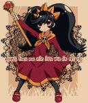 1girl ashley_(warioware) backwards_text bangs batchgooya black_hair black_legwear brown_background commentary dress full_body hairband highres holding holding_wand long_hair long_sleeves looking_at_viewer orange_hairband pantyhose red_dress red_eyes red_footwear skull solo twintails very_long_hair wand warioware witch