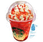 bear commentary_request cream cup disposable_cup drink food_focus highres momiji_mao no_humans original signature simple_background sparkle starbucks starbucks_siren translation_request white_background