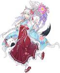 1girl :3 :d ahoge animal_ears ark_order asa_no_ha_(pattern) blue_eyes blue_kimono bow braid floral_print flower footwear_bow fox_ears fox_shadow_puppet fox_tail fubuchun hair_flower hair_ornament hair_tassel hatoyama_itsuru holding holding_umbrella hololive japanese_clothes kimono lace long_hair long_sleeves looking_at_viewer lotus official_art okobo open_mouth parasol pink_flower print_kimono print_skirt purple_flower red_bow red_footwear red_sash red_skirt sash shirakami_fubuki side_braid sidelocks skirt smile socks solo tachi-e tail transparent_background umbrella very_long_hair white_hair white_legwear white_umbrella wide_sleeves wisteria wrist_cuffs