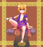 1girl ahoge alternate_costume animal_ear_fluff animal_ears anklet asymmetrical_hair bangle bangs barefoot blonde_hair bracelet breasts brown_background closed_mouth commentary_request cookie_(touhou) earrings eyebrows_visible_through_hair fox_ears fox_girl fox_tail full_body hair_between_eyes highres jewelry looking_at_viewer medium_hair miramikaru_riran purple_robe red_eyes ring rock sidelocks sitting small_breasts smile solo tail yan_pai