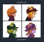 4girls album_cover_redraw alternate_costume alternate_hairstyle animal_ear_fluff animal_ears asymmetrical_hair backwards_hat bangs black_coat black_headwear blonde_hair brown_coat brown_headwear closed_mouth coat collared_shirt commentary_request cookie_(touhou) demon_days_(gorillaz) derivative_work expressionless eyebrows_visible_through_hair fox_ears fox_girl goggles goggles_on_headwear gorillaz hair_between_eyes hat highres looking_at_viewer looking_to_the_side medium_hair miramikaru_riran multiple_girls plaid_headwear red_eyes red_shirt shirt short_ponytail sidelocks upper_body white_background yan_pai