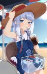 1girl absurdres bag beach bloop_(gawr_gura) blue_dress blue_eyes blush clouds cola cup drawn_ears drawn_whiskers dress drinking drinking_straw_in_mouth face_filter fish_tank gawr_gura hair_ornament hairclip hat hat_ribbon highres holding holding_cup hololive hololive_english horizon knbd long_hair looking_at_viewer ocean official_alternate_costume outdoors red_ribbon ribbon shirt shoulder_bag silver_hair sitting sky sleeveless sleeveless_shirt soda solo_focus straw_hat summer suspenders sweatdrop virtual_youtuber white_shirt