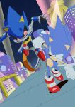 2boys absurdres banel_springer building clenched_teeth gloves highres huge_filesize male_focus metal_sonic multiple_boys racing retro_artstyle robot running shoes sneakers sonic_(series) sonic_cd sonic_the_hedgehog sonic_the_hedgehog_(classic) teeth white_gloves