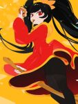 1girl ashley_(warioware) bangs black_hair black_legwear broom broom_riding commentary doughnut dress eating feet_out_of_frame food food_in_mouth from_below hairband highres holding holding_food kuroi_moyamoya long_hair long_sleeves looking_at_viewer orange_hairband pantyhose red_dress red_eyes solo thighs twintails very_long_hair warioware yellow_background