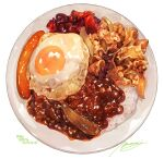 commentary_request egg food food_focus highres momiji_mao no_humans original plate rice sausage signature simple_background sparkle translation_request white_background