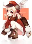 1girl :d absurdres ahoge ass backpack bag bag_charm bangs bloomers boots brown_footwear brown_gloves brown_scarf cabbie_hat charm_(object) child clover_print coat commentary dodoco_(genshin_impact) english_commentary eyebrows_visible_through_hair genshin_impact gloves hair_between_eyes hat hat_feather hat_ornament head_tilt highres hooded_coat klee_(genshin_impact) knee_boots kneehighs light_brown_hair long_hair long_sleeves looking_away low_twintails noodychaan open_mouth orange_eyes pocket pointy_ears randoseru red_coat red_headwear scarf sidelocks simple_background smile solo squatting twintails twitter_username two-tone_background underwear