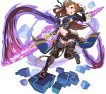1girl arm_up armor armored_boots artist_request asymmetrical_bangs aura bangs beatrix_(granblue_fantasy) belt blue_legwear blue_ribbon blue_vest blush boots breasts brown_footwear brown_hair brown_jumpsuit clenched_hand clothing_cutout cube energy_sword faulds full_body gauntlets granblue_fantasy green_eyes hair_ornament hair_ribbon highres holding holding_sword holding_weapon knee_pads large_breasts leg_up light_blush long_hair looking_at_viewer navel non-web_source official_art open_mouth outstretched_arm ponytail ribbon shiny shiny_hair short_jumpsuit shoulder_armor solo standing standing_on_one_leg stomach stomach_cutout sword teeth thigh-highs tied_hair transparent_background v-shaped_eyebrows vambraces vest waist_cape weapon world_flipper