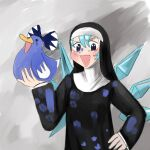 1girl animal bird blue_eyes blue_hair bow cirno cropped_torso crossover detached_wings duck footprints habit hair_bow highres holding holding_animal ice ice_wings little_nuns_(diva) nun paint_splatter smile solo step_arts touhou wings