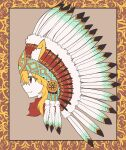 1girl animal_ear_fluff animal_ears asymmetrical_hair bangs blonde_hair border brown_background brown_border closed_mouth commentary_request cookie_(touhou) cropped_torso eyebrows_visible_through_hair fang fang_out feathers fox_ears fox_girl headdress highres medium_hair miramikaru_riran native_american_headdress profile red_eyes red_scarf scarf sidelocks smile solo yan_pai