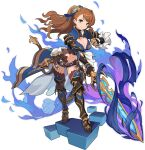 1girl armor armored_boots artist_request asymmetrical_bangs aura bangs beatrix_(granblue_fantasy) belt blue_legwear blue_ribbon blue_vest blush boots breasts brown_footwear brown_hair brown_jumpsuit closed_mouth clothing_cutout cube eyebrows_visible_through_hair faulds full_body gauntlets granblue_fantasy green_eyes hair_ornament hair_ribbon hand_up happy highres holding holding_sword holding_weapon knee_pads large_breasts leaning_forward light_blush long_hair looking_at_viewer navel non-web_source official_art outstretched_arm ponytail ribbon shiny shiny_hair short_jumpsuit shoulder_armor smile solo standing stomach stomach_cutout sword thigh-highs tied_hair transparent_background v-shaped_eyebrows vambraces vest waist_cape weapon world_flipper