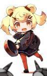 1girl animal_ears arknights bear_ears black_dress black_footwear black_jacket blonde_hair blurry blurry_foreground candy candy_hair_ornament candy_wrapper colored_shadow depth_of_field dress food food-themed_hair_ornament frying_pan gummy_(arknights) hair_ornament hairclip highres holding jacket lollipop long_sleeves pantyhose puffy_long_sleeves puffy_sleeves red_legwear shadow shoes solo standing standing_on_one_leg swirl_lollipop twintails white_background youhei_64d