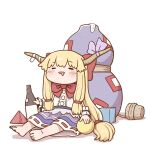 1girl bangs barefoot blonde_hair blue_skirt blush bottle bow bowtie closed_eyes cork cuffs drunk eyebrows_visible_through_hair gourd grey_ribbon hair_bow holding holding_bottle horn_ornament horn_ribbon horns ibuki_suika long_hair mouth_drool oni_horns open_mouth poronegi pyramid_(geometry) red_bow red_neckwear ribbon shackles shirt sidelocks simple_background sitting skirt solo toes touhou very_long_hair white_background white_shirt wrist_cuffs