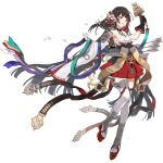 1girl arrow_(projectile) artist_request bangs bell black_gloves black_hair black_surge_night breasts detached_sleeves flight_deck full_body gloves hair_ornament holding japanese_clothes jingle_bell kagura_suzu long_hair multicolored_hair o-ring official_art parted_lips petals red_eyes redhead rigging single_glove small_breasts solo taihou_(black_surge_night) thigh-highs transparent_background two-tone_hair very_long_hair white_legwear wide_sleeves