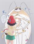 1girl ? arms_up beanie berry_(pokemon) black_hair blue_pupils chiimako commentary_request eyelashes green_shorts grey_background hat medium_hair pheromosa pokemon pokemon_(creature) pokemon_(game) pokemon_sm red_headwear selene_(pokemon) shirt short_shorts short_sleeves shorts sweatdrop thought_bubble tied_shirt ultra_beast violet_eyes yellow_shirt