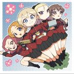 5girls absurdres assam_(girls_und_panzer) bangs black_footwear black_gloves black_ribbon black_skirt blonde_hair blue_eyes boots braid braided_ponytail bright_pupils brown_eyes brown_hair closed_mouth commentary_request computer cup darjeeling_(girls_und_panzer) dutch_angle epaulettes frown girls_und_panzer glaring gloves hair_ornament hair_over_shoulder hair_pulled_back hair_ribbon hairclip highres holding holding_cup holding_laptop holding_saucer jacket laptop leg_up long_hair long_sleeves looking_at_viewer military military_uniform miniskirt multiple_girls nakachiruno open_mouth orange_hair orange_pekoe_(girls_und_panzer) outline parted_bangs pleated_skirt raised_fist red_jacket redhead ribbon rosehip_(girls_und_panzer) rukuriri_(girls_und_panzer) saucer short_hair side-by-side single_braid skirt smile st._gloriana's_military_uniform standing tank_shell teacup tied_hair twin_braids uniform waving white_outline white_pupils