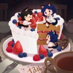 3girls animal_ears bangs black_hair blue_eyes blue_hair blueberry blush cake character_request cup food fork fruit icing inazuma_eleven inazuma_eleven_(series) long_sleeves majohope minigirl multiple_girls no_nose open_mouth plate profile shadow shirt short_hair smile strawberry tail teapot white_shirt