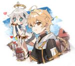 +_+ 1boy 1girl aether_(genshin_impact) alternate_costume bangs blonde_hair blue_eyes blush braid building cheese_trail clouds day eating eyebrows_visible_through_hair food food_in_mouth food_on_face genshin_impact hair_between_eyes hair_ornament halo heart holding holding_food hood hood_down long_hair looking_at_viewer nagatani_(ngt_926) outdoors paimon_(genshin_impact) pizza shirt short_sleeves shorts silver_hair single_braid sky twitter_username upper_body yellow_eyes