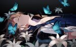 1boy albedo_(genshin_impact) artist_request bangs blonde_hair bug butterfly closed_eyes flower_bed genshin_impact hair_between_eyes highres hood hood_down hooded_jacket jacket lying