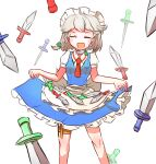 1girl apron ascot bangs blush bow braid breasts closed_eyes collared_shirt frilled_skirt frills green_bow hair_ribbon happy highres holster izayoi_sakuya knees knife knife_holster maid maid_apron maid_headdress medium_breasts open_mouth peroponesosu. puffy_short_sleeves puffy_sleeves red_neckwear ribbon shirt short_hair short_sleeves simple_background skirt solo thigh_holster too_many touhou tress_ribbon twin_braids white_background