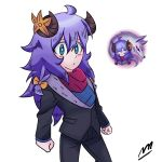 braid formal horns imrqueso kindred_(league_of_legends) lamb_(league_of_legends) league_of_legends purple_hair spirit_blossom_kindred suit suit_jacket wolf