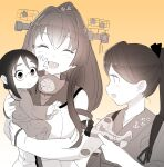 3girls aircraft baby bangs breasts closed_eyes detached_sleeves eyebrows_visible_through_hair glasses hair_between_eyes hair_ribbon headgear highres holding holding_baby houshou_(kancolle) japanese_clothes kantai_collection long_hair mizuki_kyou monochrome multiple_girls open_mouth ponytail ribbon shinano_(kancolle) simple_background upper_body yamato_(kancolle)