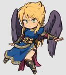 1girl blonde_hair boots breasts breath_of_fire breath_of_fire_ii chibi closed_mouth dress green_eyes ibara. long_hair nina_(breath_of_fire_ii) purple_wings side_slit simple_background solo wings