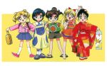 1990s_(style) 5girls aino_minako bangs barefoot bishoujo_senshi_sailor_moon black_eyes black_hair blonde_hair blue_eyes blue_hair blue_skirt bow briefcase brown_hair casual child double_bun dress earrings fan_print floral_print green_eyes grin hair_bobbles hair_bow hair_ornament highres hino_rei holding holding_briefcase japanese_clothes jewelry kimono kino_makoto long_hair looking_back miniskirt mizuno_ami mouse_print multiple_girls official_art open_mouth pink_footwear pleated_skirt retro_artstyle sandals scan short_hair shorts skirt slippers smile standing stud_earrings sundress tsukino_usagi twintails umbrella_print updo wide_sleeves younger