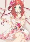 1girl :o bare_legs bare_shoulders detached_sleeves dress feet_out_of_frame frilled_dress frills hand_to_own_mouth hat hat_ribbon idolmaster idolmaster_cinderella_girls imtyousei imura_setsuna jewelry necklace off-shoulder_dress off_shoulder print_dress red_ribbon redhead ribbon sitting solo wrist_cuffs