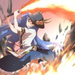 1girl :d black_headwear blue_hair blue_skirt breasts center_frills commentary_request eyebrows_visible_through_hair feet_out_of_frame fire flaming_sword flaming_weapon floating_hair food frills fruit fruit_hat_ornament hands_up hat highres hinanawi_tenshi holding holding_sword holding_weapon long_hair motion_blur open_mouth orange_eyes peach peach_hat_ornament petticoat puffy_short_sleeves puffy_sleeves rock shirt short_sleeves shundou_heishirou skirt small_breasts smile solo sword sword_of_hisou touhou v-shaped_eyebrows weapon white_shirt