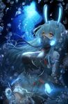 1girl absurdres air_bubble animal_ears azur_lane blue_hair boise_(azur_lane) breasts bubble covered_mouth dress fake_animal_ears gloves glowing glowing_ears highres huge_filesize large_breasts light_blue_hair limi long_hair looking_at_viewer mechanical_ears microdress oxygen_mask oxygen_tank rabbit_ears scuba_tank solo thigh-highs underwater very_long_hair white_gloves yellow_eyes
