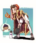 1boy :d argyle bent_over bo9_(bo9_nc) bottle brown_eyes brown_hair cape champion_uniform dated dynamax_band fur-trimmed_cape fur_trim hat holding holding_clothes holding_hat hop_(pokemon) leggings looking_down male_focus open_mouth pokemon pokemon_(game) pokemon_swsh red_cape rotom rotom_phone shirt shoes short_sleeves shorts signature smile sparkle sweat symbol-only_commentary teeth tongue towel towel_on_head translation_request victor_(pokemon) water_bottle white_legwear white_shorts