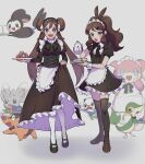 2girls :d :o alternate_costume apron audino bangs blue_eyes blush bow bowtie breasts brown_footwear brown_hair buttons commentary_request cup double_bun dress emolga enmaided eyelashes glass hair_ornament highres hilda_(pokemon) holding holding_teapot holding_tray long_hair looking_at_viewer maid minccino multiple_girls open_mouth oshawott pantyhose poke_ball poke_ball_(basic) pokemon pokemon_(creature) pokemon_(game) pokemon_bw pokemon_bw2 rosa_(pokemon) rpp_pic shoes short_sleeves sidelocks smile snivy standing teapot tepig thigh-highs tongue tray twintails white_apron white_legwear x_hair_ornament