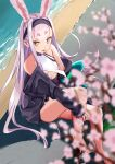 1girl :p absurdres animal_ears azur_lane bangs beach blunt_bangs blurry branch breasts cherry_blossoms commentary_request depth_of_field extra_ears eyebrows_visible_through_hair from_above highres long_hair long_sleeves looking_at_viewer looking_up rabbit_ears shimakaze_(azur_lane) sidelocks silver_hair sitting smile solo thick_eyebrows tongue tongue_out under_boob yellow_eyes yuzu_minari
