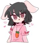 1girl animal_ears black_hair carrot carrot_necklace dress floppy_ears frilled_dress frilled_sleeves frills highres inaba_tewi jewelry op_na_yarou pendant pink_dress puffy_short_sleeves puffy_sleeves rabbit_ears rabbit_girl rabbit_tail red_eyes ribbon-trimmed_dress short_hair short_sleeves simple_background tail touhou white_background