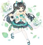 1girl ark_order bangs bare_shoulders black_bow black_hair blue_bow blue_footwear bow bug butterfly butterfly_wings detached_collar detached_sleeves dress energy_wings flat_chest flower footwear_bow frilled_sleeves frills full_body gold_trim green_bow green_dress green_eyes green_wings hair_bow hair_flower hair_ornament hairclip leaf leizu_(ark_order) long_hair long_sleeves multicolored multicolored_clothes multicolored_dress official_art shoes solo sparkle tachi-e thigh-highs transparent_background tsukimi_(xiaohuasan) twintails very_long_hair white_bow white_dress white_flower white_legwear wings