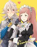 1boy 1girl apron armor bangs black_dress blunt_bangs blush breasts bridal_gauntlets closed_mouth collar commentary corrin_(fire_emblem) corrin_(fire_emblem)_(male) dress english_commentary felicia_(fire_emblem) fire_emblem fire_emblem_fates frilled_collar frills green_eyes hair_between_eyes heart highres holding_another's_arm hug igni_tion juliet_sleeves lips long_hair long_sleeves looking_at_another looking_to_the_side maid maid_headdress manakete medium_breasts pink_hair pink_lips pointy_ears ponytail puffy_sleeves red_eyes short_hair sidelocks silver_hair simple_background smile upper_body waist_apron white_apron yellow_background