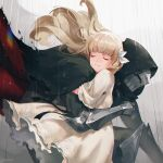 1girl 1other armor black_cape black_ribbon blonde_hair cape closed_eyes dress ender_lilies_quietus_of_the_knights flower full_armor gauntlets greaves hair_flower hair_ornament highres hood hooded_cape hug jiro_(ninetysix) lily_(ender_lilies) long_hair metal rain ribbon torn_cape torn_clothes umbral_knight_(ender_lilies) white_dress