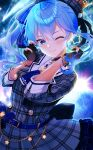 1girl bangs black_gloves blue_eyes blue_hair blue_nails bracelet choker comet commentary_request fingernails gloves hat highres hololive hoshimachi_suisei jacket jewelry looking_at_viewer mizuno_kurage nail_polish partially_fingerless_gloves plaid plaid_jacket plaid_neckwear smile solo star_(symbol) star_choker star_in_eye symbol_in_eye virtual_youtuber