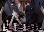1girl 2boys arms_at_sides bangs black_cape black_footwear black_hair black_headwear black_jacket black_pants blue_hair breasts buttons cape checkered chess_piece chessboard chu_dong closed_eyes closed_mouth crossed_bangs danganronpa_(series) danganronpa_v3:_killing_harmony dress_shirt dual_persona from_side full_body grey_jacket grey_pants hair_between_eyes head_out_of_frame highres holding holding_mask jacket large_breasts long_sleeves looking_at_viewer male_focus mask mask_removed multiple_boys official_alternate_costume ouma_kokichi pants purple_hair red_ribbon ribbon school_uniform shiny shiny_hair shirogane_tsumugi shirt shoes standing torn_cape torn_clothes upper_body walking