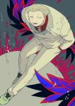 1boy blonde_hair brown_footwear buttons collared_shirt double-breasted grey_background hand_in_pocket jacket kagune_(tokyo_ghoul) leaning_forward lower_teeth male_focus omori_yakumo open_mouth pants red_shirt shirt signature smile solo tokyo_ghoul white_jacket white_pants zoo_(oukakumaku)