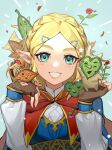 1girl blonde_hair blue_eyes braid brown_gloves cape crow0cc fingerless_gloves flower gloves hair_ornament hairclip hestu highres leaf looking_at_viewer pink_flower pink_rose pointy_ears princess_zelda puffy_sleeves red_cape red_flower red_rose rose smile solo the_legend_of_zelda the_legend_of_zelda:_breath_of_the_wild upper_body