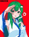 1girl absurdres arm_up armpits bangs bare_shoulders blush breasts character_name closed_mouth collar collared_shirt detached_sleeves eyebrows_visible_through_hair eyes_visible_through_hair frog_hair_ornament green_eyes green_hair green_nails hair_between_eyes hair_ornament hair_tubes hairpin hand_up heart highres kochiya_sanae long_hair long_sleeves looking_at_viewer medium_breasts nezwjp red_background red_heart shirt simple_background sleeveless sleeveless_shirt smile snake_hair_ornament solo tongue tongue_out touhou white_shirt white_sleeves wide_sleeves