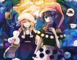 2girls bangs belt black_dress black_headwear blonde_hair blue_eyes blush book bow buttons collar collared_dress cup doremy_sweet dress eyebrows_visible_through_hair green_eyes hair_between_eyes hand_up hat hat_bow highres katari lamp light long_sleeves looking_to_the_side maribel_hearn medium_hair mob_cap multiple_girls open_mouth picture_(object) pink_headwear pom_pom_(clothes) purple_dress purple_hair shadow short_hair short_sleeves sitting smile standing touhou wall wavy_hair white_belt white_bow white_dress white_headwear