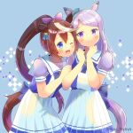 2girls ;d animal_ears bangs blue_background blue_bow blue_eyes blue_shirt blush bow brown_hair commentary_request ear_ribbon eyebrows_visible_through_hair green_ribbon hair_between_eyes hair_ribbon hands_up high_ponytail horse_ears horse_girl horse_tail kou_hiyoyo long_hair mejiro_mcqueen_(umamusume) multicolored_hair multiple_girls one_eye_closed open_mouth pink_ribbon pleated_skirt ponytail puffy_short_sleeves puffy_sleeves purple_hair ribbon school_uniform shirt short_sleeves skirt smile streaked_hair tail tokai_teio_(umamusume) tracen_school_uniform twitter_username umamusume very_long_hair violet_eyes white_hair white_skirt