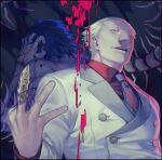2boys back-to-back black_background blonde_hair brown_hair bug centipede claw_ring collared_shirt dual_persona hair_slicked_back hand_up jacket looking_at_viewer male_focus multiple_boys necktie omori_yakumo pectorals print_neckwear red_shirt shirt short_hair smile tokyo_ghoul upper_body upper_teeth white_jacket zoo_(oukakumaku)