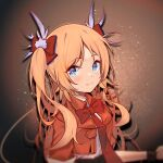 1girl arknights blonde_hair blue_eyes blush bow bowtie bracelet commentary_request eyebrows_visible_through_hair hair_bow jacket jewelry long_hair looking_at_viewer official_alternate_costume pinecone_(arknights) pinecone_(sing_a_song)_(arknights) red_bow red_jacket shirt smile solo suimz twintails white_shirt