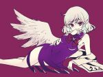 1girl angel_wings bare_shoulders beige_jacket bow bowtie braid breasts collared_dress covered_navel dress eyebrows_visible_through_hair finger_to_mouth french_braid hair_between_eyes hand_to_own_mouth highres jacket jacket_removed kishin_sagume looking_at_viewer lying medium_breasts on_side purple_background purple_dress red_neckwear short_hair silver_hair solo subaru_(subachoco) thighs touhou violet_eyes wings