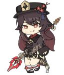 1girl :q bangs black_hair black_shorts chibi chinese_clothes commentary_request eyebrows_visible_through_hair flower full_body genshin_impact hair_between_eyes hand_on_hip hat hat_flower hat_ornament holding holding_polearm holding_spear holding_weapon hu_tao_(genshin_impact) long_hair long_sleeves looking_at_viewer nyaru_(nyaru_4126) polearm red_eyes shorts sidelocks simple_background smile solo spear staff_of_homa_(genshin_impact) standing standing_on_one_leg symbol-shaped_pupils tongue tongue_out weapon white_background